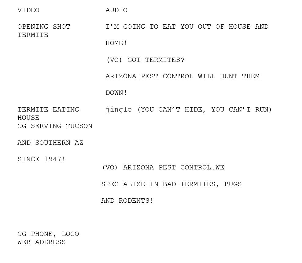 Arizona Pest Control Script