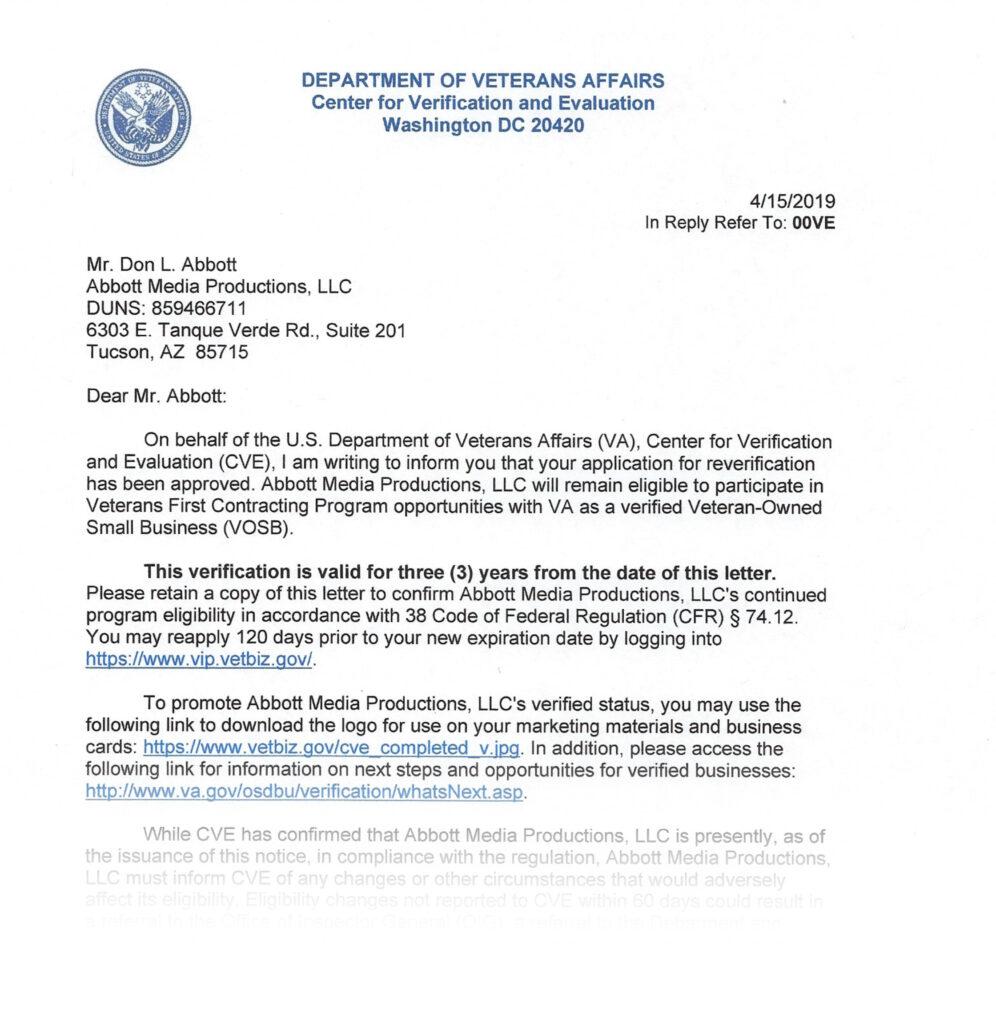 VOSB Recertification Letter